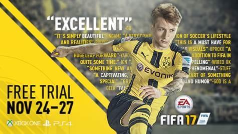 FIFA 17 estará de graça neste fim de semana