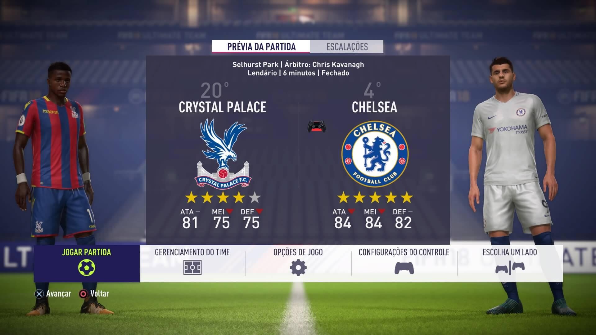 FIFA 18 Jogo Rápido (Nos menus)